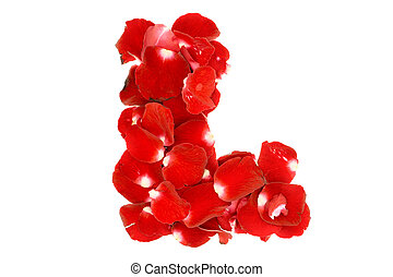 "Letter ""L"" made from red roses petals. Isolated on white background"