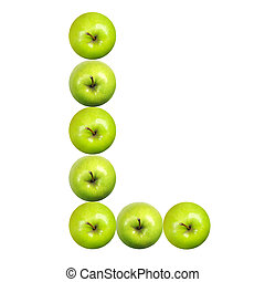 Letter L made of apples