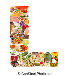 Letter L made of food