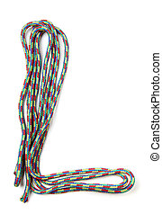 Letter l of cotton rope