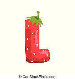 Letter L of English alphabet made from ripe fresh srawberry, bright red berry font vector Illustration on a white background
