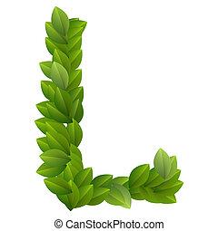 Letter L of green leaves alphabet