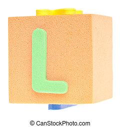 Letter L on Foam Block