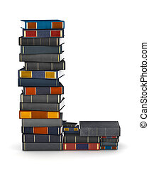 Letter L, stacked from books - Letter L, stacked from many...