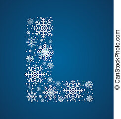 Letter L, vector font frosty snowflakes