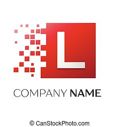 Letter L Vector Logo Symbol In The Colorful Square With Shattered