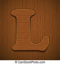 "Letter ""L"". Wooden alphabet. Vector illustration."