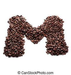 letter m, alphabet from coffee bean