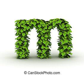 Letter m, alphabet of green leaves