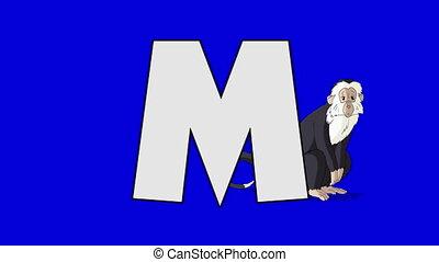 Letter M and Monkey (background) - Animated animal alphabet....