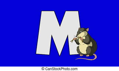 Letter M and Mouse (foreground) - Animated animal alphabet....