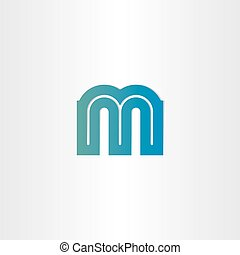 Blue Letter M Shaped Fire Icon Vector Illustration Vector