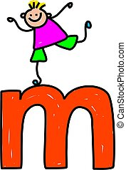 letter M boy - happy little boy climbing over giant letter M...