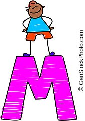 letter M boy - little boy standing on letter M