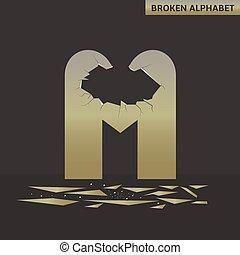 Letter M. Broken mirror
