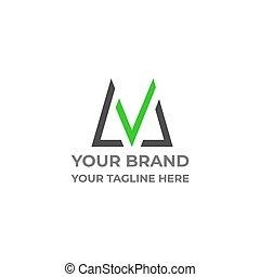 letter m check mark green grass design vector