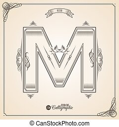 Letter M - Calligraphic Fotn with Border, Frame Elements and...