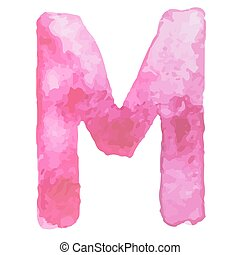 Letter  M Colorful watercolor aquarelle font type handwritten hand draw doodle abc alphabet letters Vector illustration.