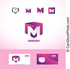 Letter M cube logo icon set