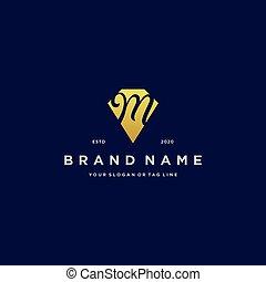 letter M diamond gold logo design
