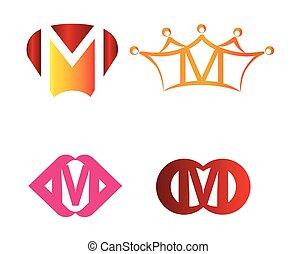 Letter M emblem symbol set