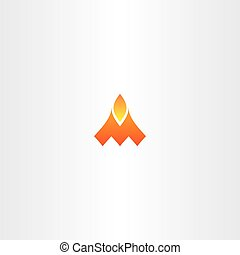 letter m fire flame vector logo icon