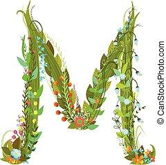 Letter M Flower calligraphy floral elegant decorative...