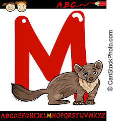 letter m for marten cartoon illustration