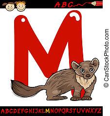 letter m for marten cartoon illustration - Cartoon...
