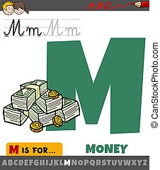 letter M from alphabet with cartoon money