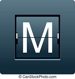 Letter M from mechanical scoreboard. Vector