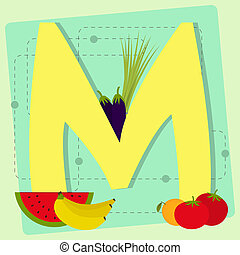 """Letter """"m"""" from stylized alphabet w"""