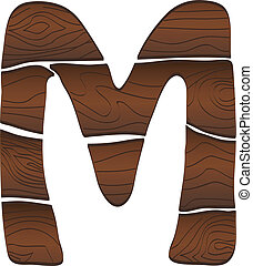 Letter M from wood isolated on the white. Vector
