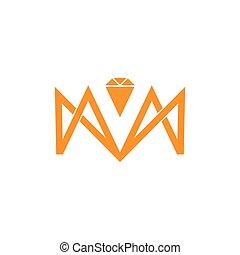 letter m geometric line line diamond logo