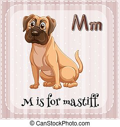 Letter M - Illustration of a letter M is for mastiff