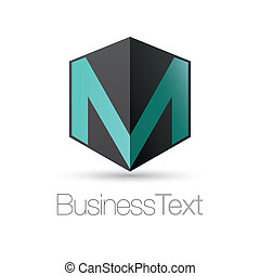 Letter M in a box - Letter M in a black cube box business...