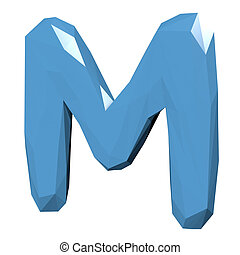 Letter M in Low Poly Style on white background.3D Rendering. Illustration