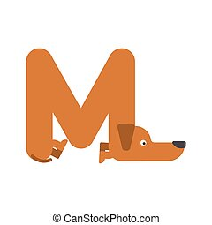 Letter M is dog. pet font. Dachshund alphabet. Lettering home animal