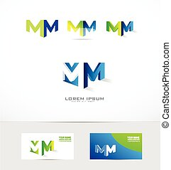 Letter M logo 3d icon set - Vector company logo icon element...