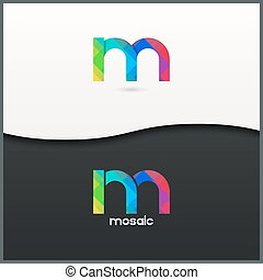 letter M logo alphabet mosaic icon set background 10 eps