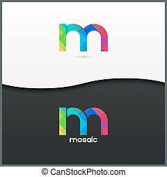 letter M logo alphabet mosaic icon set background 10 eps