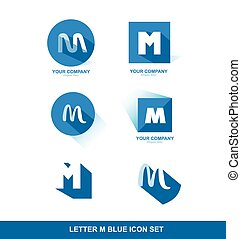 Letter M logo blue icon set