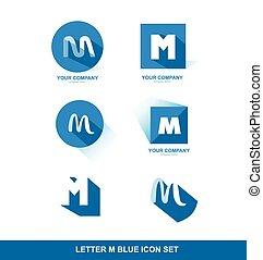 Letter M logo blue icon set