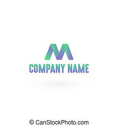 Letter M Logo - Colorful Simple Style N Logo, Vector,...