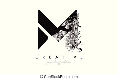 Letter M Logo Design Icon with Artistic Grunge Texture In Black and White