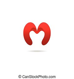 Letter M logo design template in red colors. Vector logotype