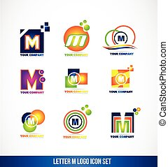 Letter M logo icon set - Vector company logo icon element...