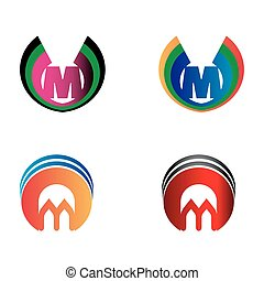 Letter M logo set
