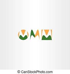 letter m logo set green orange icon vector