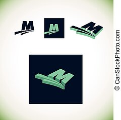 Letter m logo set green